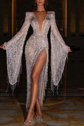 Deep V-Neck Thigh-high Slit Prom Dress