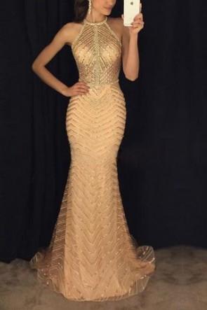 Sparkly Sleeveless Halter Prom Dress