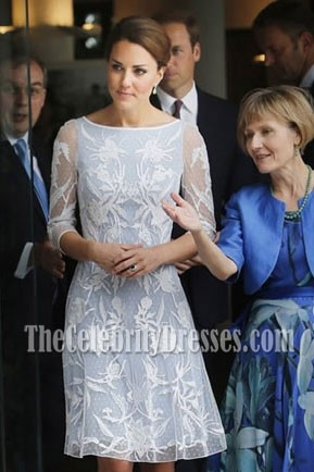 Kate Middleton Princess Lace Short Dress With Long Sleeves