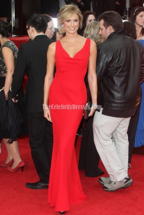 Stacy Keibler Red Prom Evening Gown 2012 Golden Globes Red Carpet Celebrity Dresses