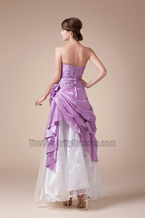 Purple And White Strapless Prom Gown Formal Evening Dresses