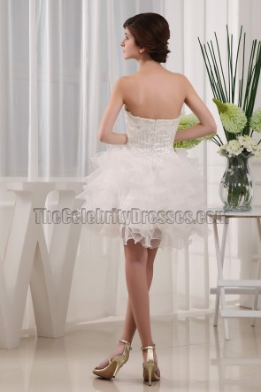 Ivory Strapless Sweetheart Beaded Cocktail Party Dresses