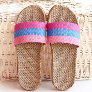 Striped Multicolor Open Toe Sliders