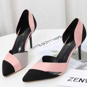 Suede Color-block Pointed Toe Stiletto Heels