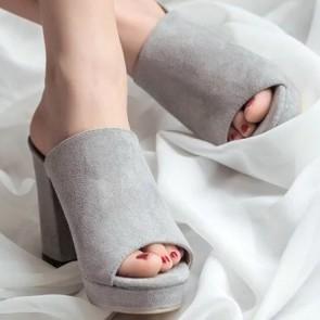 Suede Peep Toe Chunky Heel  Sandals For Women