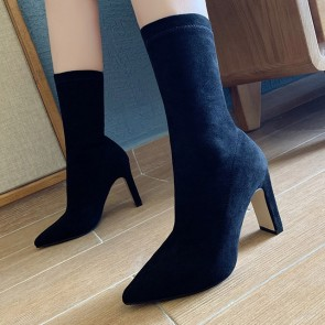 Suede Pointed Toe Chunky Heels Ankle Boots