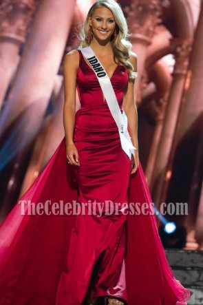 Sydney Halper Burgundy Deep V-neckline Mermaid Gown 2016 Miss USA Contestants 3