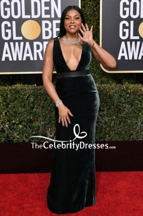 Taraji P. Henson Dark Green Velvet Plunging Form-fitting Evening Dress 2019 Golden Globes