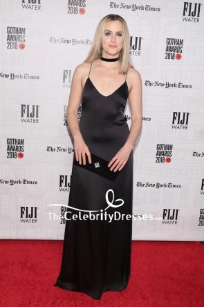 Taylor Schilling Black Spaghetti Straps Evening Dress 2018 Gotham Independent Film Awards