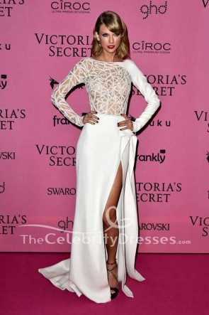 Taylor Swift White Hollow Thigh-high Slit Backless Evening Dress With Sleeves 2014 Victoria's Secret Fashion Show
