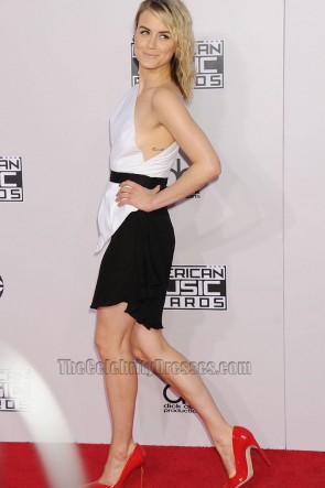 Taylor Schilling テイラーシリング 白と黒のカクテルドレス2014アメリカンミュージックアワードパーティードレス