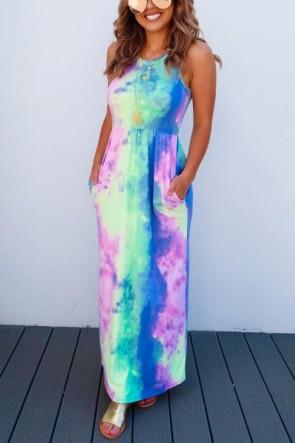Fashion Tie-dye Pockets Dress
