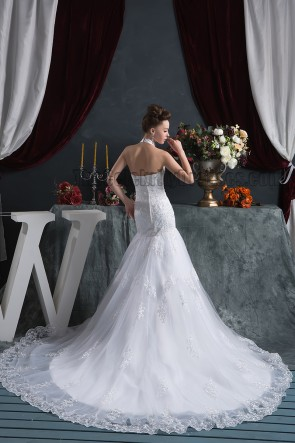 Trumpet /Mermaid Halter Chapel Train Wedding Dresses