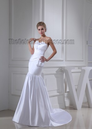 Trumpet /Mermaid Strapless Chapel Train Wedding Dresses