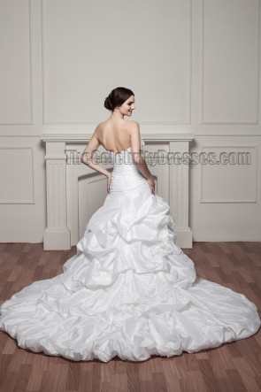Trumpet/Mermaid Strapless Chapel  Train Wedding Dresses