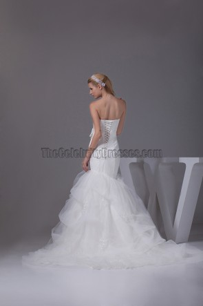 Trumpet / Mermaid Sweetheart Chapel Train Organza Wedding Dress