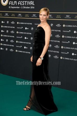 Uma Thurman ユマ・サーマン 黒のストラップレスのベルベットのイブニングウエディングドレス2016チューリッヒ映画祭