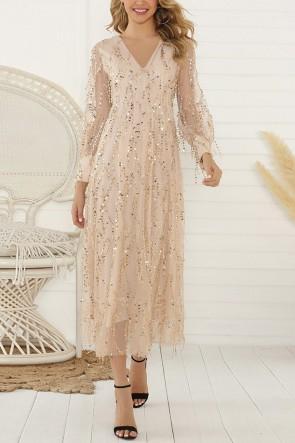 Sparkly V-Neck Sequins Tulle Dress