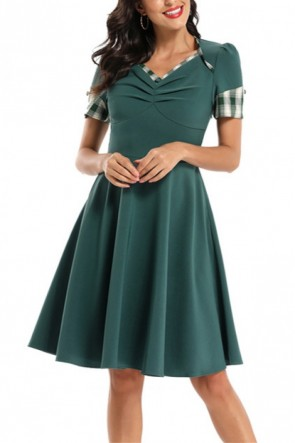 Elegant V-neck Plaid Patched Homecoming Dress