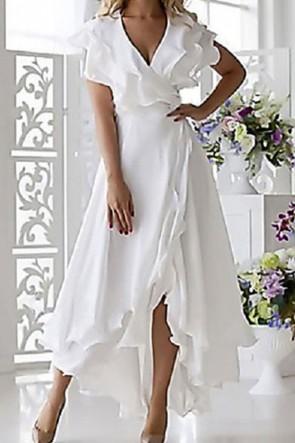 V-Neck Asymmetrical Ruffled Dress