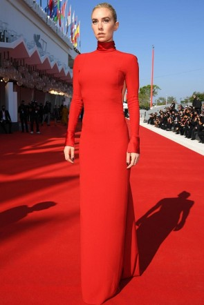 Vanessa Kirby Red Cut Out Formal Dress 2020 Venice Film Festival