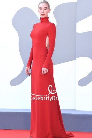 Vanessa Kirby Red Cut Out Formal Dress 2020 Venice Film Festival TCD9010