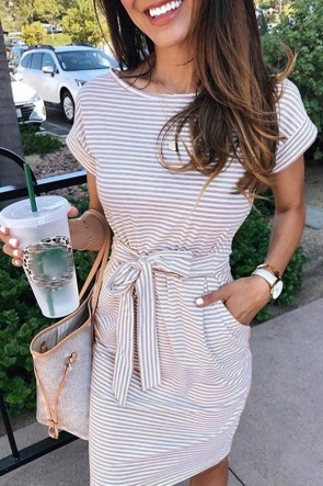 Versatile Lace-up Striped Dress