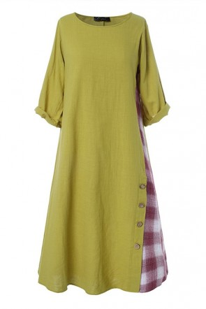 Vintage Plus Size Maxi Casual Dress