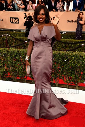 Viola Davis ビオラデイビス ストラップレスの人魚のイブニングウエディングドレス2016 SAGボールガウン
