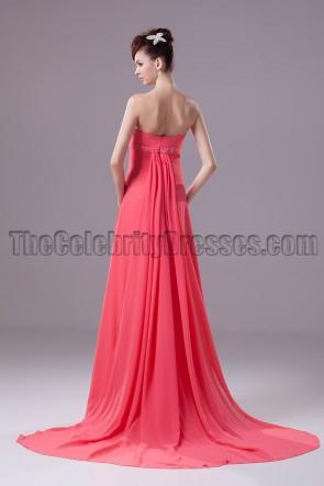 Watermelon Strapless A-Line Bridesmaid Prom Dresses