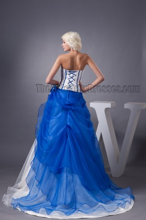 Celebrity Inspired Strapless Blue And White Formal Dress Prom Gown
