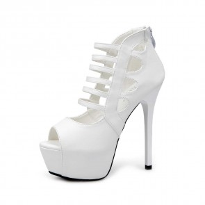 White Hollow Platform Women's Sandals Peep Toe Prom Shoes