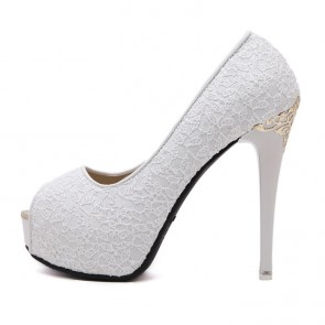 White Lace Wedding Women's Shoes Cheap Peep Toe Heels For Prom