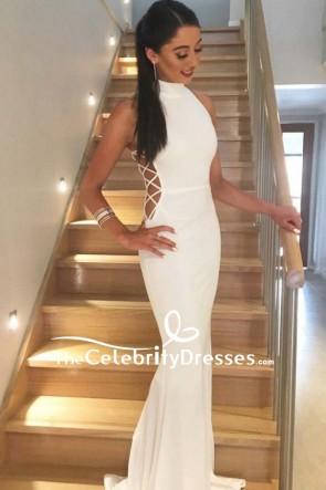 White Mermaid Long Cut Out Prom Dress 2018