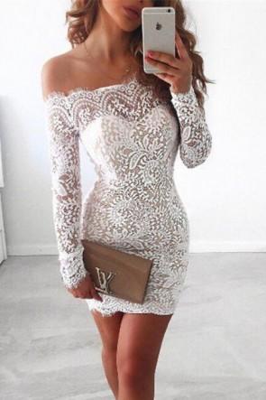 White Off-the-shoulder Lace Short Dress