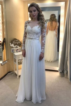 White Open Back A-line Applique Prom Dress With Sleeves