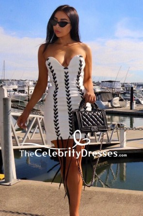 White Strapless Sexy Mini Bodycon Cocktail Dress