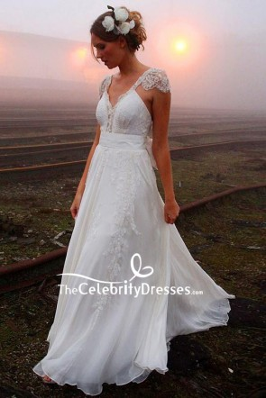 White V-neck A-line Cap Sleeves Wedding Dress