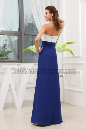 Strapless White And Royal Blue Evening Dresses Prom Gown