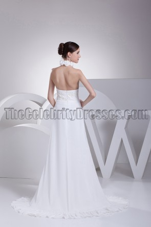 White Halter Backless Prom Gown Evening Dresses