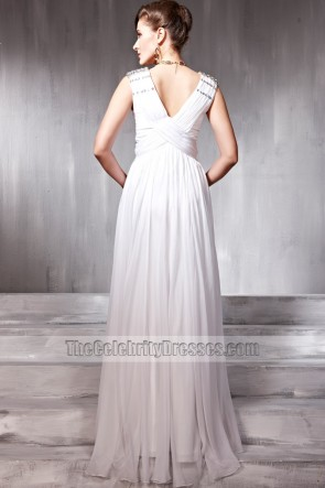 White Sleeveless Beaded Prom Gown Evening Formal Dresses