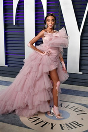 Winnie Harlow Pearl Pink Strapless High Low Dress 2019 Vanity Fair Oscar party