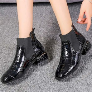 Women's Casual Black  Low Heel Ankle Boots