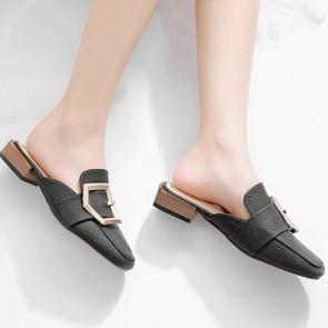 Women's Decor Metal Closed-toe Flat Sandals Pumps Shoes