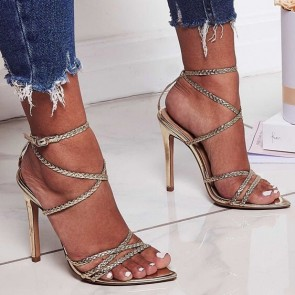 Women's Patent Leather Open Toe Stiletto Sandals Ankle Strap Heels