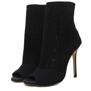 Women's Peep-toe Shoes Knit Stiletto Heels Boots