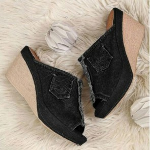Women's Peep-toe Wedge Heel Shoes