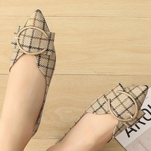 Women's Plaid Print Flat Heel Pumps Closed-toe Shoes