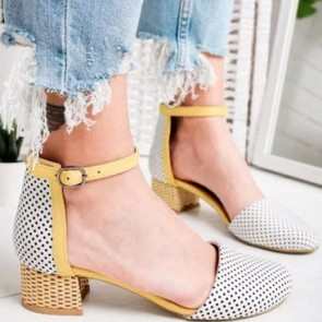 Women's Polka Dot Square Chunky Heel Pump Shoes Cap-toe With Buckle