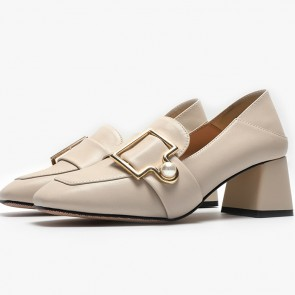 Women's PU Chunky Heel Closed Toe Shoes With Metal Buckle